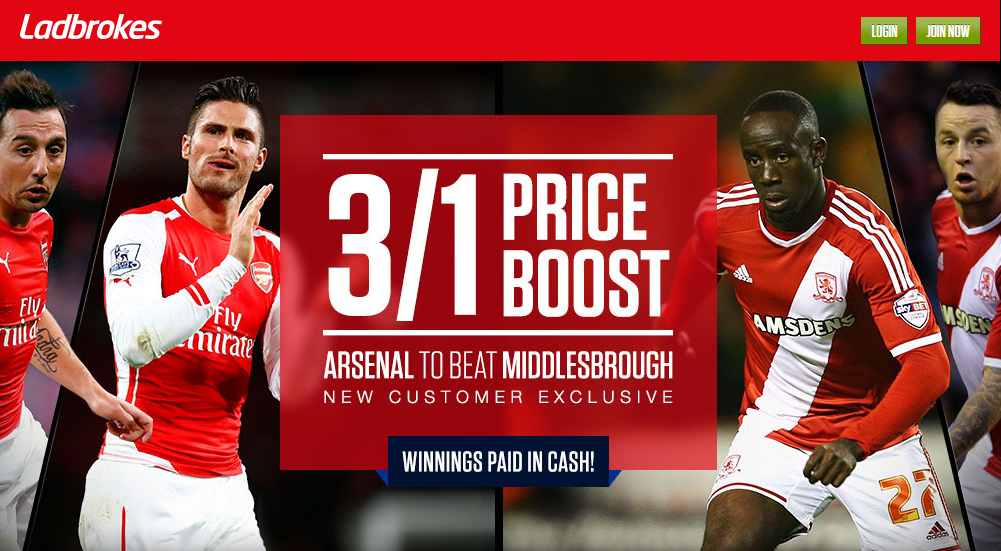 Best odds Arsenal beat Middlesbrough