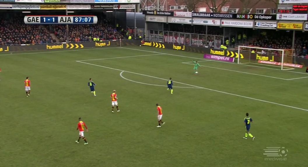 Go-Ahead Eagles goalkeeper v Ajax