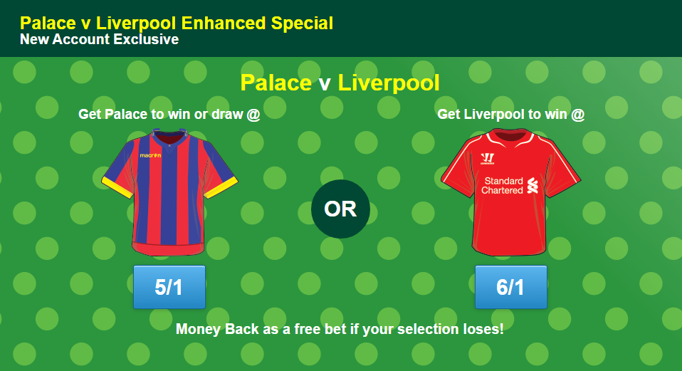 Palace v Liverpool enhanced odds